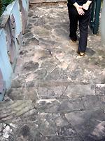 玄関アプローチの床が汚れています。